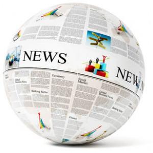 Newspaper on globe